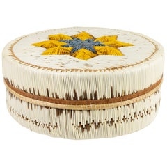 Chippewa Quilled Birch Bark Basket