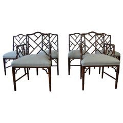 Chippendale Style Faux Bamboo Dining Chairs, Set of 8