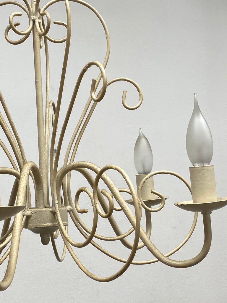 Chippy White Tole Pendant Chandelier Hollywood Regency Style For Sale 4