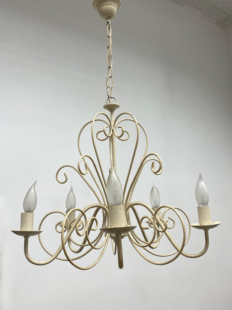 German Chippy White Tole Pendant Chandelier Hollywood Regency Style For Sale