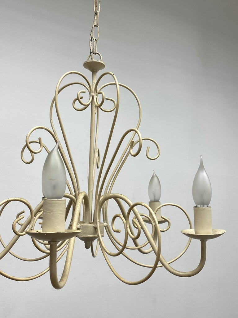 Mid-20th Century Chippy White Tole Pendant Chandelier Hollywood Regency Style For Sale
