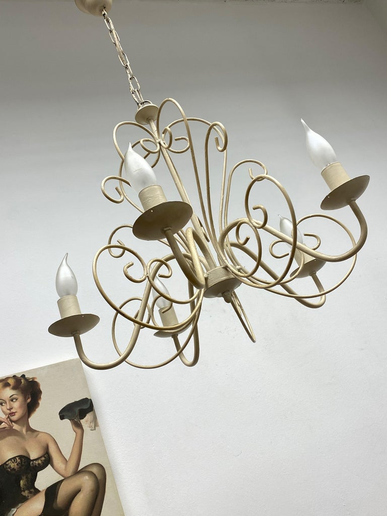Metal Chippy White Tole Pendant Chandelier Hollywood Regency Style For Sale
