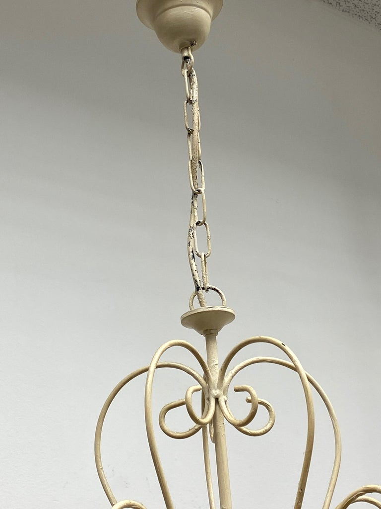 Chippy White Tole Pendant Chandelier Hollywood Regency Style For Sale 1