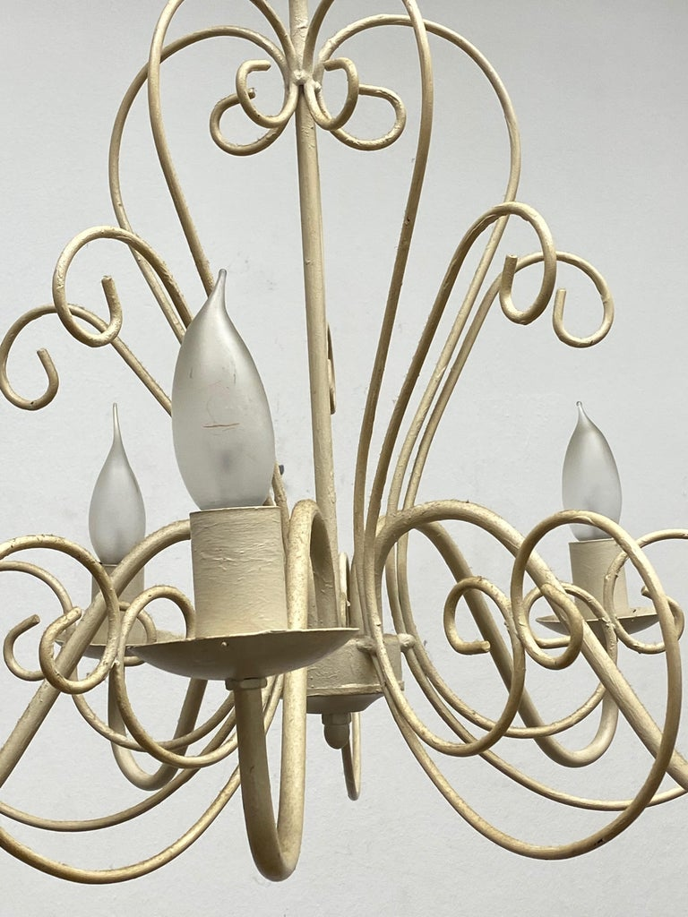 Chippy White Tole Pendant Chandelier Hollywood Regency Style For Sale 3
