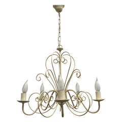 Chippy White Tole Pendant Chandelier Hollywood Regency Style