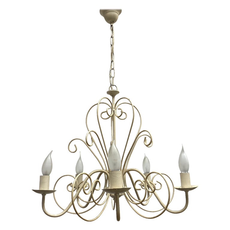 Chippy White Tole Pendant Chandelier Hollywood Regency Style For Sale