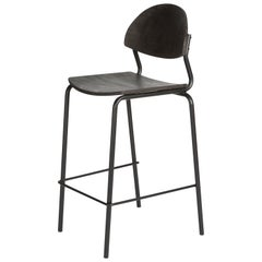 Chips Bar Chair, Black Steel Tube Frame / Black Timber Seat