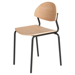 Chips Dining Chair, Black Steel Tube Frame or Beech Timber Seat