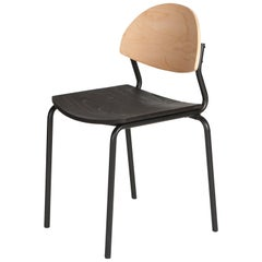 Chips Dining Chair - Black Steel Tube Frame / Timber Backrest, Black Seat