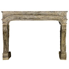 Chique French Country Antique Limestone Fireplace Surround