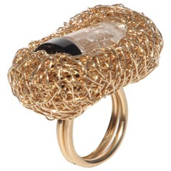 Rock Crystal & Onyx Cocktail Ring Gold Woven Two-Stone Style