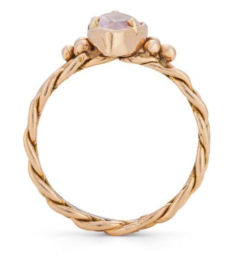 Artisan Chiron Ring, 18 Karat Rose Gold with Morganite For Sale