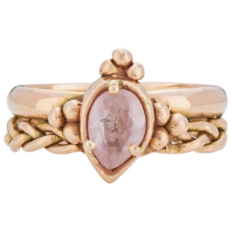 Chiron Ring, 18 Karat Rose Gold with Morganite For Sale