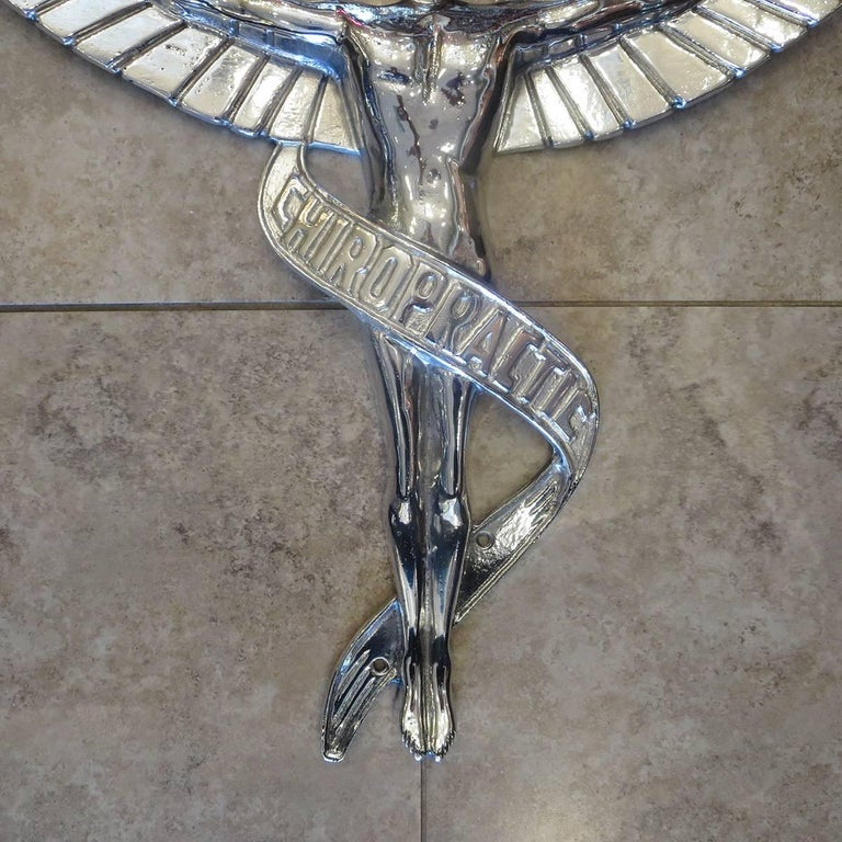 Art Deco Chiropractic Caduceus Plaque in Polished Aluminum For Sale
