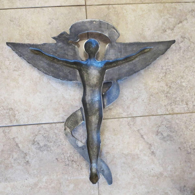 Mid-20th Century Chiropractic Caduceus Plaque in Polished Aluminum For Sale