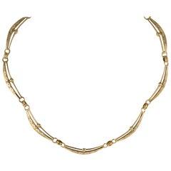 Chiseled 14 Karat Yellow Gold Retro Necklace