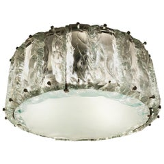 Chiseled Glass Flush Mount Chandelier by Zero Quattro