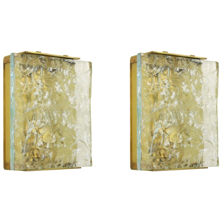 Chiseled Glass Sconces by Max Ingrand for Fontana Arte Mod. 2311, Italy, 1960s For Sale
