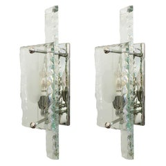 Chiseled Glass Sconces by ZeroQuattro, Italy, 1960s
