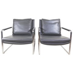 Chita Set of 2 Gray Leather Armchairs