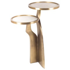 """Chital"" 2-Top Side Table in Cream Shagreen & Bronze-Patina Brass by Kifu Paris"