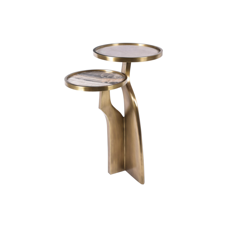 """Chital"" 2-Top Side Table in Onyx, Shagreen & Bronze-Patina Brass by Kifu, Paris"