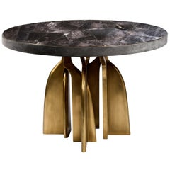 """Chital"" Breakfast Table in Black Shagreen, Black Quartz & Brass by Kifu, Paris"
