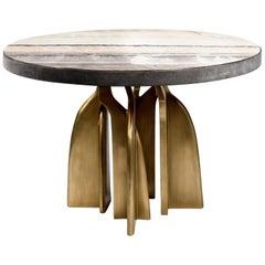 """Chital"" Breakfast Table in Black Shagreen, Onyx and Brass by Kifu, Paris"