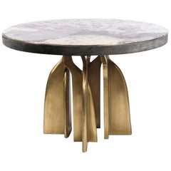 """Chital"" Breakfast Table in Black Shagreen, Patagonia and Brass by Kifu, Paris"