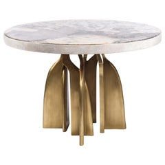 """Chital"" Breakfast Table in Cream Shagreen, Patagonia and Brass by Kifu, Paris"