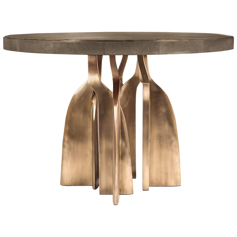 """Chital"" Breakfast Table in Mink Shagreen and Bronze-Patina Brass by Kifu, Paris"