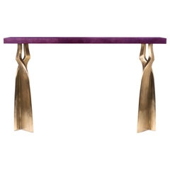 """Chital"" Console Table in Purple Shagreen and Bronze-Patina Brass by Kifu Paris"