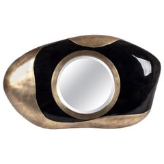 Chital Mirror in Black Pen Shell and Bronze-Patina Brass by Kifu, Paris