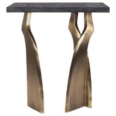 Chital Side Table II in Black Shagreen and Bronze-Patina Brass by Kifu Paris