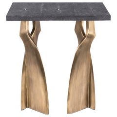 Chital Side Table in Black Shagreen and Bronze-Patina Brass by Kifu Paris