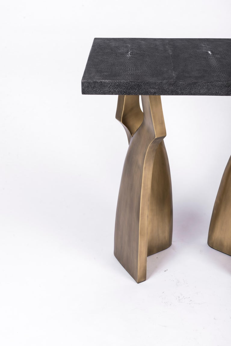 Hand-Crafted Chital Side Table in Black Shagreen and Bronze-Patina Brass by Kifu Paris For Sale