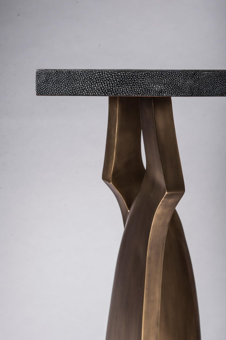 Chital Side Table in Black Shagreen and Bronze-Patina Brass by Kifu Paris In New Condition For Sale In New York, NY