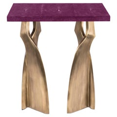 Chital Side Table in Purple Shagreen and Bronze-Patina Brass by Kifu Paris