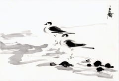 Ink Painting of two Shorebirds on the Beach