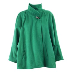 Chloe 1980s Ad Campaign Green Wool High Neck Batwing Sleeve Swagger Coat
