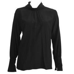Chloe 1980s Black Silk Long Sleeve Blouse Size Large.