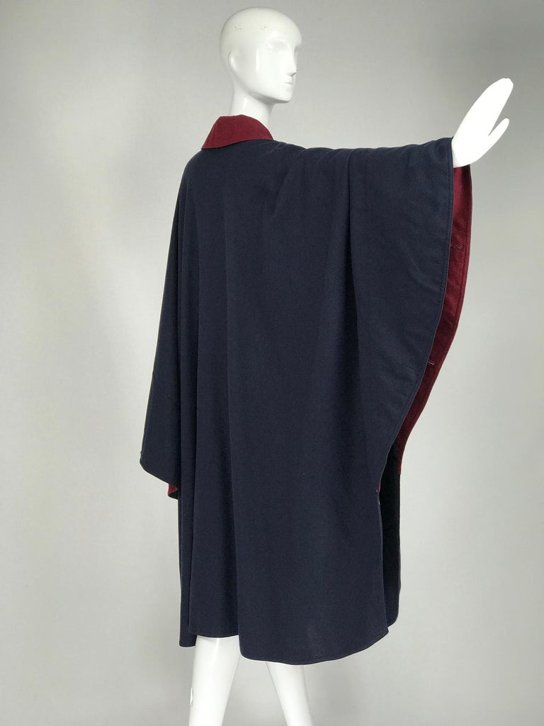 Black Chloe 1981 Blue and Wine Wool Cape Designed by Karl Lagerfeld Documented