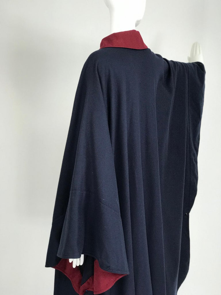 Women's Chloe 1981 Blue and Wine Wool Cape Designed by Karl Lagerfeld Documented