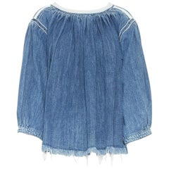 CHLOE 2016 blue denim blouse a-line baby doll top smocked frayed bohemian FR36 S