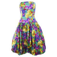 Chloe A/W 1988 Runway Strapless Pleated Floral Silk Vintage Bubble Hem Dress