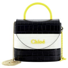 Chloe Aby Lock Bag Crocodile Embossed Leather Small