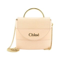 Chloe Aby Lock Handbag Lizard Embossed Leather Small