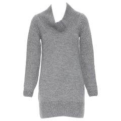 CHLOE alpaca wool grey open cowl neck long sleeve sweater dress XS