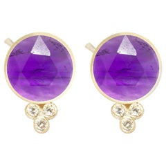 Chloe Amethyst 18 Karat Gold Stud Earrings