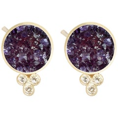 Chloe Amethyst Druzy 18 Karat Gold Stud Earrings